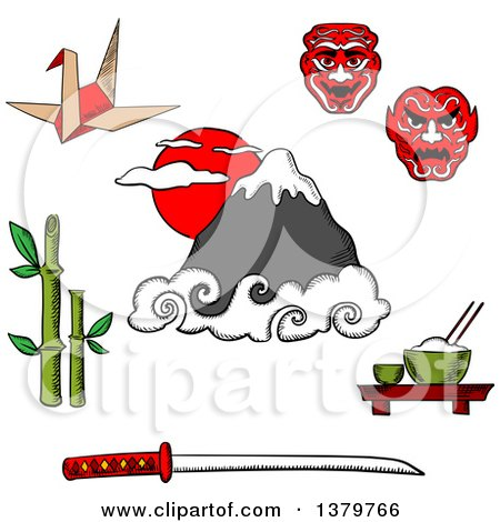 Clipart of Sketched Japanese Icons - Royalty Free Vector Illustration by Vector Tradition SM