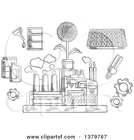 Clipart of a Black and White Sketched Factory Plant with Ecology Icons - Royalty Free Vector Illustration by Vector Tradition SM