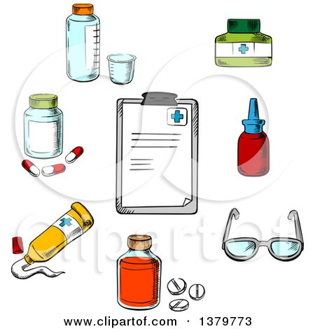 Clipart of a Sketched Clipboard and Medical Items - Royalty Free Vector Illustration by Vector Tradition SM