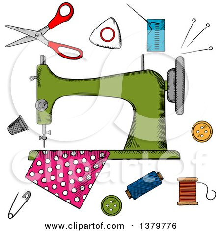 Clipart of a Sketched Sewing Machine and Notions - Royalty Free Vector Illustration by Vector Tradition SM