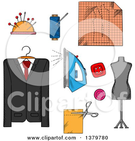 Clipart of Sketched Sewing and Tailor Icons - Royalty Free Vector Illustration by Vector Tradition SM