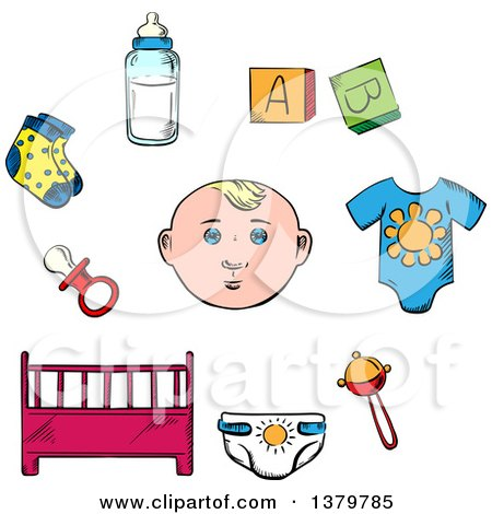 Clipart of a Sketched Baby and Items - Royalty Free Vector Illustration by Vector Tradition SM