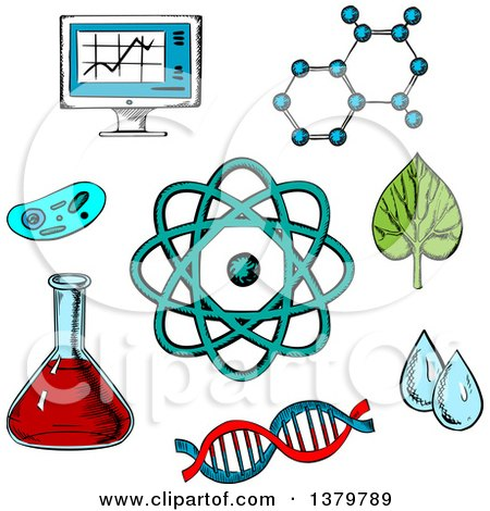 Clipart of Sketched Science Icons - Royalty Free Vector Illustration by Vector Tradition SM