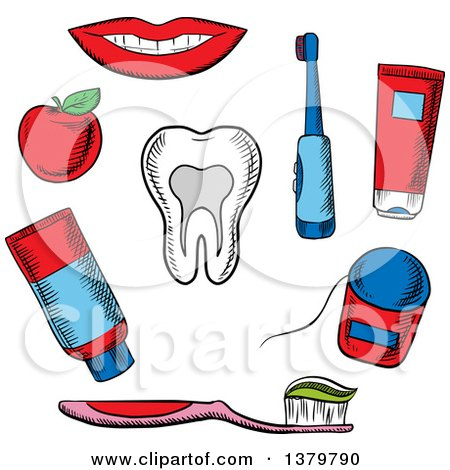 Clipart of Sketched Dental Icons - Royalty Free Vector Illustration by Vector Tradition SM