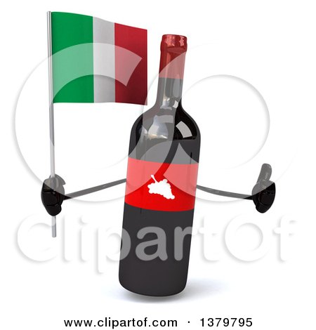 Clipart of a 3d Wine Bottle Character, on a White Background - Royalty Free Illustration by Julos