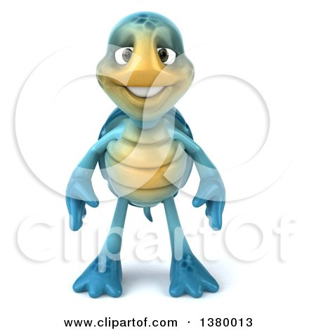 3d Blue Tortoise, on a White Background Posters, Art Prints