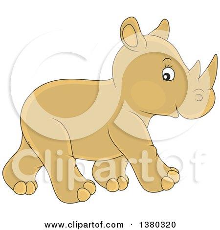 Cute Baby Rhinoceros Walking Posters, Art Prints