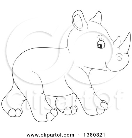 Cartoon Of A Colored And Line Art Cute Rhino Royalty