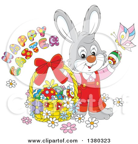 Clipart of a Gray Easter Bunny Rabbit in Overalls with a Greeting, Butterfly and Basket of Eggs - Royalty Free Vector Illustration by Alex Bannykh
