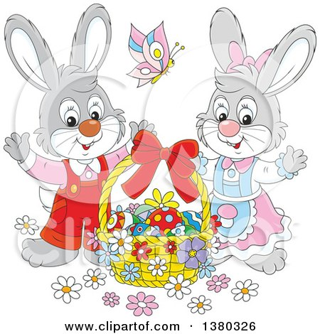 Clipart of a Gray Easter Bunny Rabbit Couple with a Basket of Eggs - Royalty Free Vector Illustration by Alex Bannykh