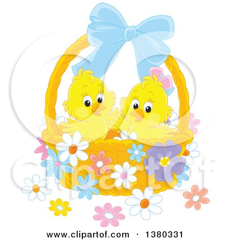 Clipart of a Basket with Two Cute Yellow Easter Chicks and Flowers - Royalty Free Vector Illustration by Alex Bannykh