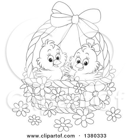 Clipart of a Black and White Basket with Two Cute Easter ...