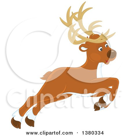 Clipart of a Leaping Reindeer - Royalty Free Vector Illustration by Alex Bannykh