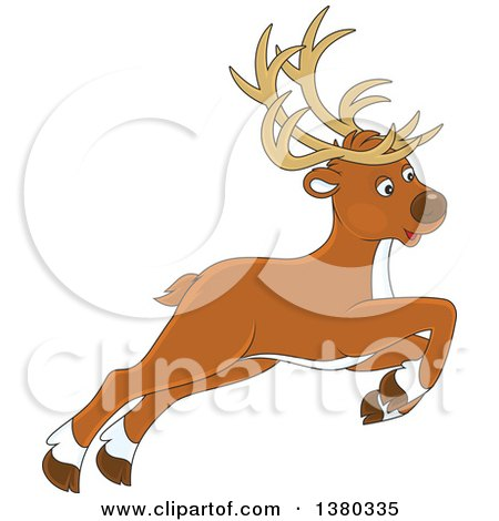 Clipart of a Cute Leaping Reindeer - Royalty Free Vector Illustration by Alex Bannykh