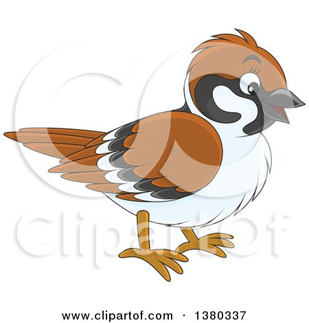 Clipart of a Happy Sparrow Bird - Royalty Free Vector Illustration by Alex Bannykh