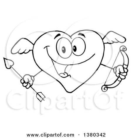 Clipart of a Black and White Lineart Heart Character Cupid Holding a Bow and Arrow - Royalty Free Vector Illustration by Hit Toon