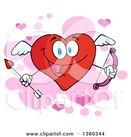 Clipart of a Heart Character Cupid Holding a Bow and Arrow over Pink and Purple - Royalty Free Vector Illustration by Hit Toon