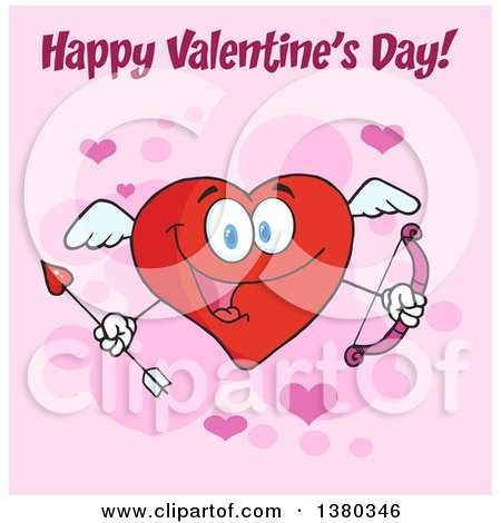 Clipart of a Happy Valentines Day Greeting over a Heart Character Cupid Holding a Bow and Arrow on Pink - Royalty Free Vector Illustration by Hit Toon