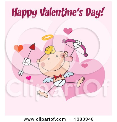 Clipart of a Happy Valentines Day Greeting over a Stick Cupid on Pink - Royalty Free Vector Illustration by Hit Toon