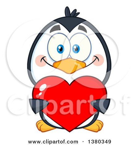 Clipart of a Cute Valentines Day Penguin Holding a Love Heart - Royalty Free Vector Illustration by Hit Toon