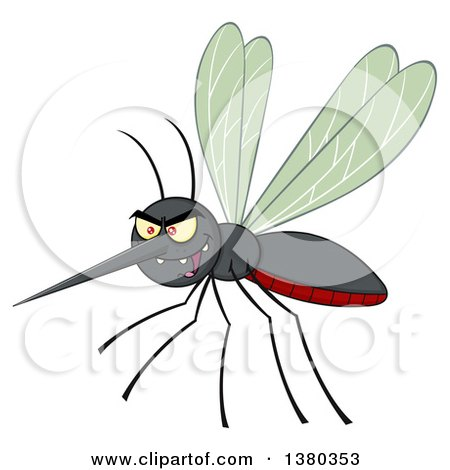 Clipart of a Grinning Evil Mosquito - Royalty Free Vector Illustration by Hit Toon