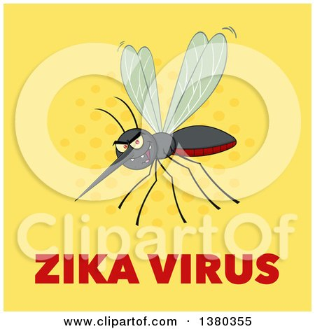 Clipart of a Grinning Evil Mosquito over Zika Virus Text on Yellow - Royalty Free Vector Illustration by Hit Toon