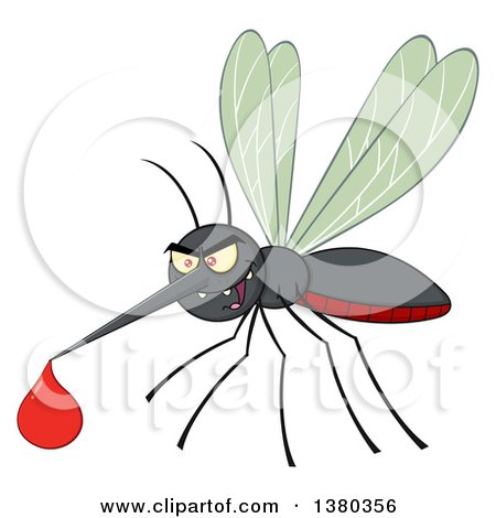 Clipart of a Grinning Evil Mosquito with a Blood Drop - Royalty Free Vector Illustration by Hit Toon