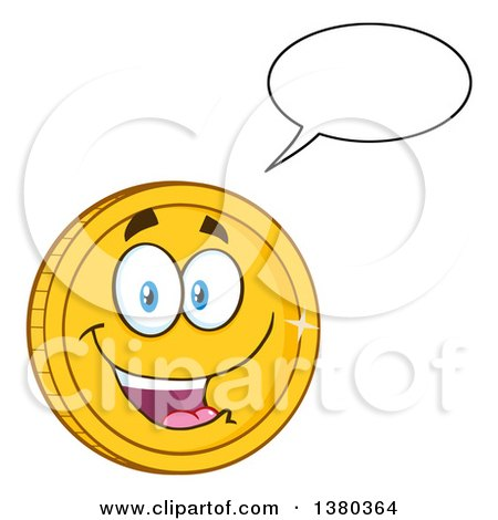 Clipart of a Happy Talking Gold Coin Character - Royalty Free Vector Illustration by Hit Toon