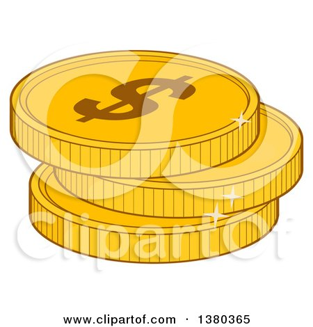 Clipart of a Stack of USD Dollar Gold Coins - Royalty Free Vector Illustration by Hit Toon