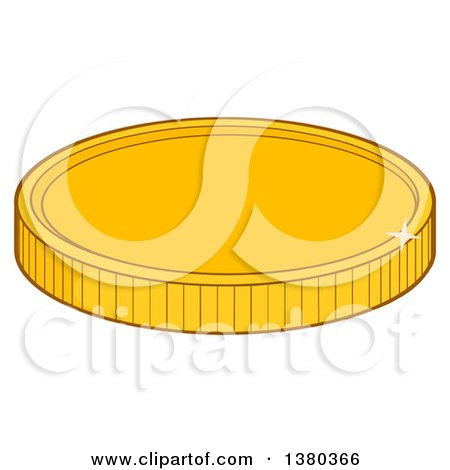 Clipart of a Shiny Gold Coin - Royalty Free Vector Illustration by Hit Toon