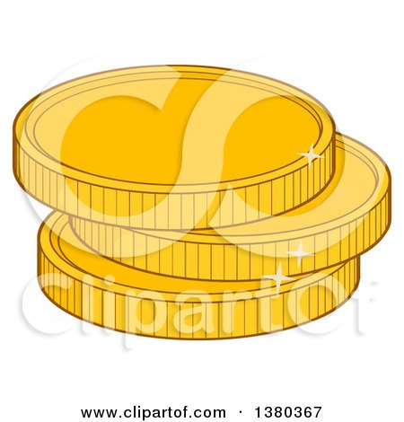 Clipart of a Stack of Gold Coins - Royalty Free Vector Illustration by Hit Toon