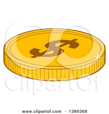 Clipart of a Shiny Gold USD Dollar Coin - Royalty Free Vector Illustration by Hit Toon