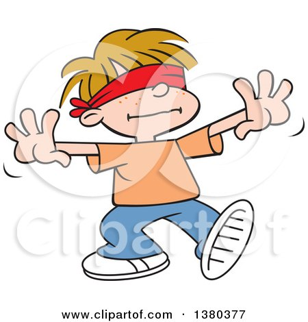 Clipart of a Dirty Blond Caucasian Boy Playing Blind Mans Buff - Royalty Free Vector Illustration by Johnny Sajem