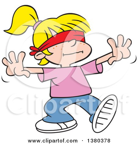 Clipart of a Blond Caucasian Girl Playing Blind Mans Buff - Royalty Free Vector Illustration by Johnny Sajem
