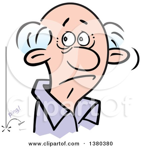 Clipart of a Senior Man Hearing a Pin Drop in the Silence - Royalty Free Vector Illustration by Johnny Sajem