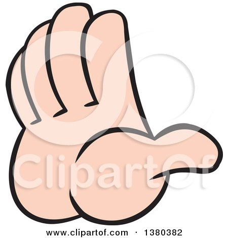 Clipart of a Caucasian Hand Gesturing to Hold It or Stop - Royalty Free Vector Illustration by Johnny Sajem