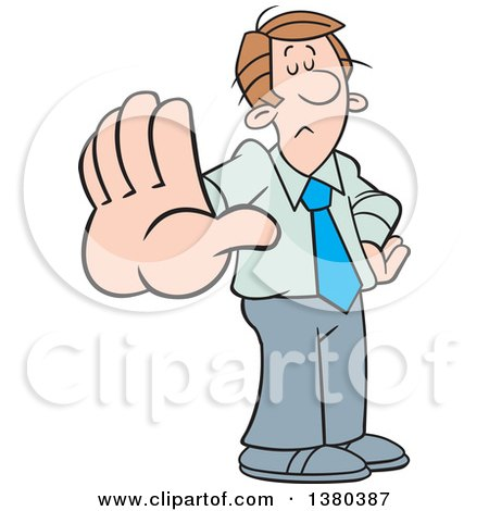 Clipart of a Cartoon Caucasian Business Man Gesturing Talk to the Hand - Royalty Free Vector Illustration by Johnny Sajem