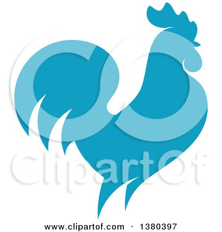 Clipart of a Blue Rooster in Profile - Royalty Free Vector Illustration by elena