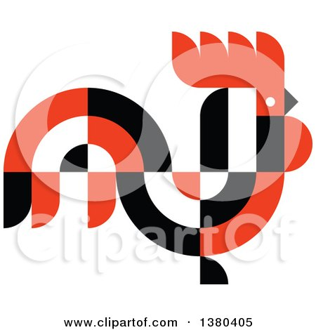Clipart of a Black White and Red Abstract Rooster in Profile - Royalty Free Vector Illustration by elena