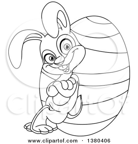 Clipart of a Black and White Lineart Easter Bunny Leaning Against a Giant Egg - Royalty Free Vector Illustration by yayayoyo