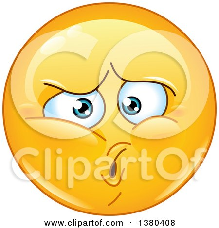 Clipart of a Hurt Yellow Cartoon Emoticon Smiley Face Emoji - Royalty Free Vector Illustration by yayayoyo