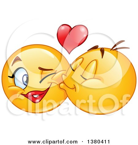 Clipart of a Yellow Cartoon Emoticon Smiley Face Emoji Kissing a Female on the Cheek - Royalty Free Vector Illustration by yayayoyo