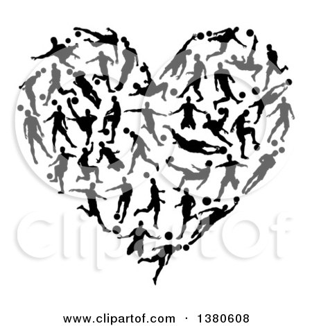 Clipart of a Heart Formed of Black Silhouetted Soccer Players - Royalty Free Vector Illustration by AtStockIllustration