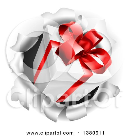Clipart of a 3d Gift Box Breaking Through a Wall - Royalty Free Vector Illustration by AtStockIllustration