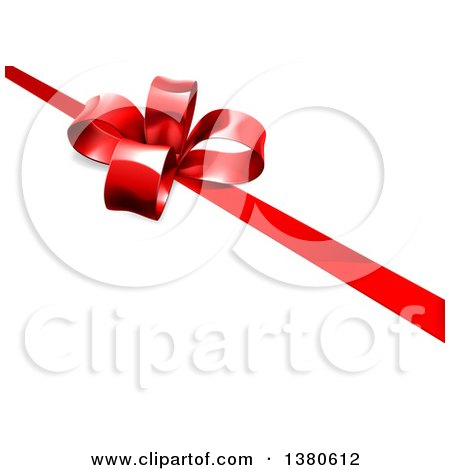 Clipart of a 3d Red Christmas, Birthday or Other Holiday Gift Bow and Ribbon on White - Royalty Free Vector Illustration by AtStockIllustration