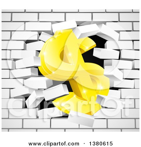Clipart of a 3d Gold Dollar Currency Symbol Breaking Through a White Brick Wall - Royalty Free Vector Illustration by AtStockIllustration