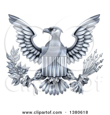 Clipart of a Silver Great Seal of the United States Bald Eagle with an American Flag Shield, Holding an Olive Branch and Silver Arrows - Royalty Free Vector Illustration by AtStockIllustration