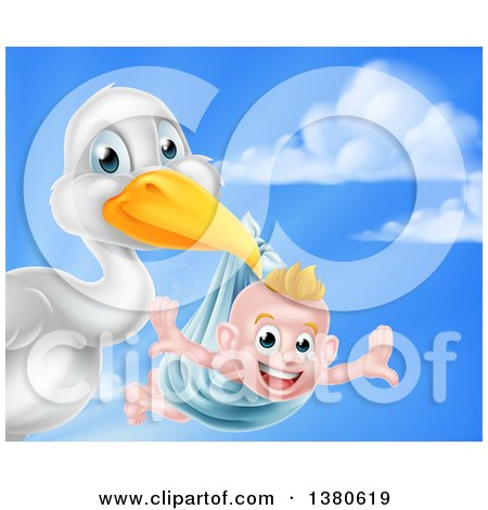 Clipart of a Stork Bird Holding a Happy Baby Boy in a Blue Bundle Against Sky - Royalty Free Vector Illustration by AtStockIllustration