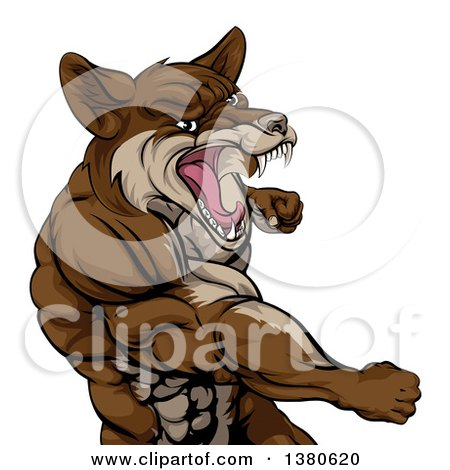 Clipart of a Punching Brown Muscular Coyote Man - Royalty Free Vector Illustration by AtStockIllustration