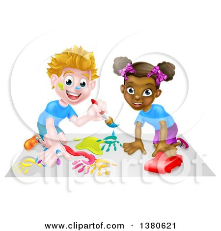 Clipart of a Cartoon Happy White Boy Kneeling and Painting Artwork and a Black Girl Playing with a Toy Car - Royalty Free Vector Illustration by AtStockIllustration